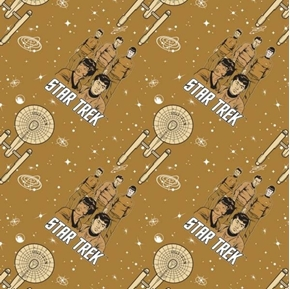 Star Trek Galaxy Pop Characters and Ship Brown Cotton Fabric