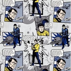 Star Trek Galaxy Pop Quotes Solo Spock Bones Stone Cotton Fabric