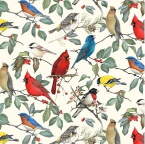 Birds and Hollies Songbirds Cardinal Bluebird Chickadee Cotton Fabric