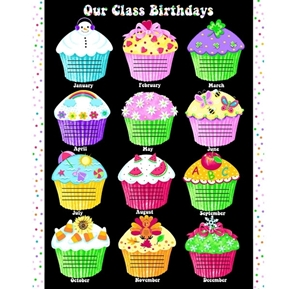 Our Class Birthdays Cupcake School Birthday Cotton Fabric Craft Panel