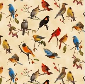 Songbirds Red-winged Blackbird Oriole Cardinal Cream Cotton Fabric