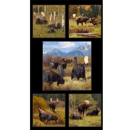 North American Wildlife Moose in Mountains 24x44 Cotton Fabric Panel