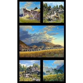 North American Wildlife Wolves in Summer 24x44 Cotton Fabric Panel