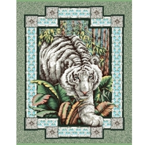 White Tiger Large Cotton Fabric Panel