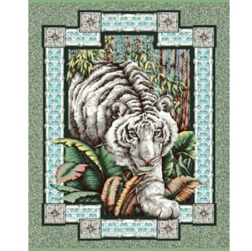 White Tiger Large Cotton Fabric Panel