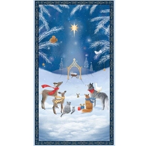 Woodland Dream Animals Nativity 24x44 Blue Cotton Fabric Panel