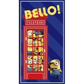 Minion British Invasion Telephone Booth 24x44 Cotton Fabric Panel