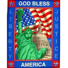 God Bless America Statue of Liberty Large Cotton Fabric Panel