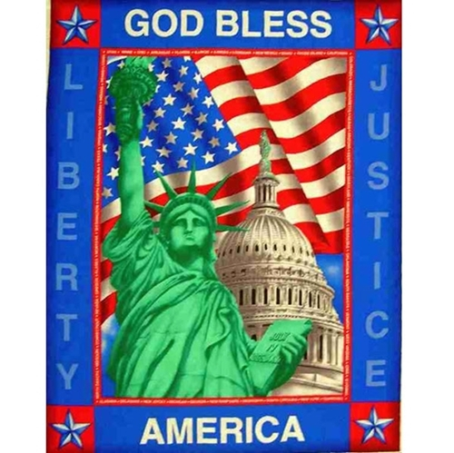 God Bless America Statue of Liberty Large Cotton Fabric Panel