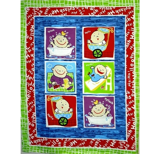 Baby Blocks Baby Scenes in Squares Large Cotton Fabric Panel
