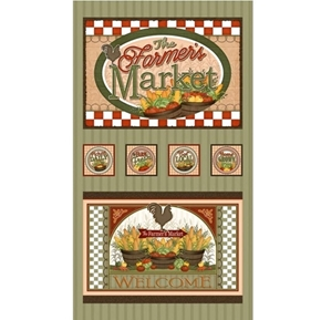 Farmers Market Farm Fresh Local Produce 24x44 Cotton Fabric Panel