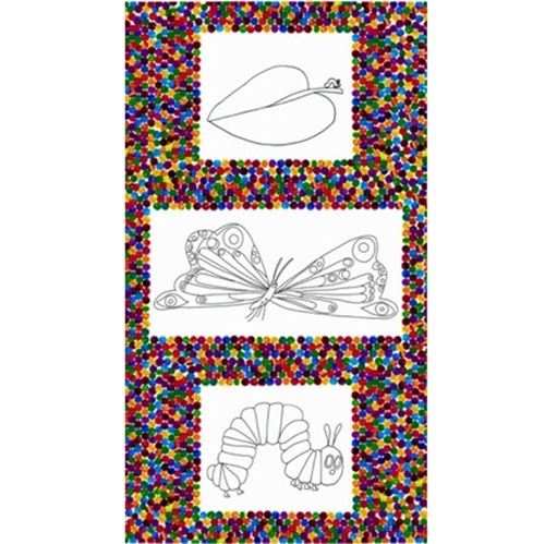 The Very Hungry Caterpillar Coloring 24x44 Large Cotton Fabric Panel