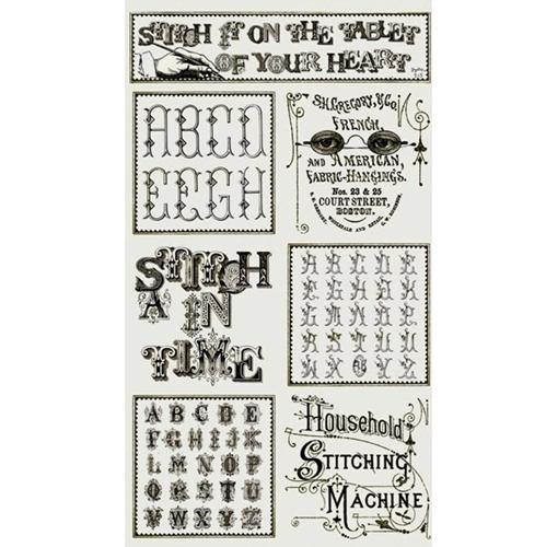 Letter Stitch Patch Alphabet J Wecker Frisch 24x44 Cotton Fabric Panel
