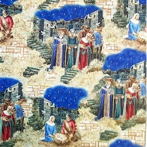 Nativity Scenes Manger and 3 Kings 23x44 Cotton Fabric