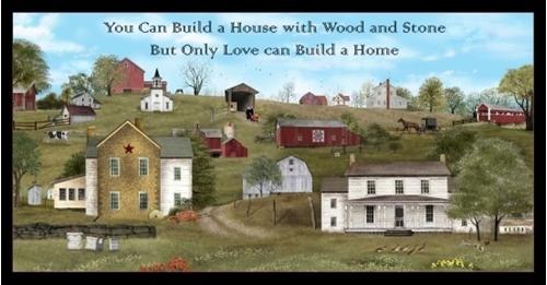 Headin Home Amish Scenic Country Landscape 24x44 Cotton Fabric Panel
