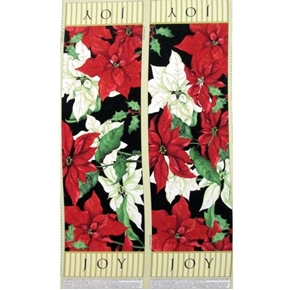 Christmas Joy Poinsettia Table Runner 25x44 Cotton Fabric Craft Panel