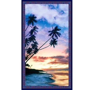 Artworks IV Beach Palm Trees Sunset Digital 24x44 Cotton Fabric Panel