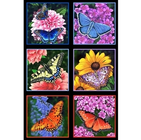 Butterfly Garden Butterflies Flower Squares 24x44 Large Fabric Panel