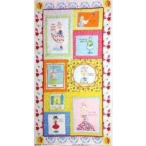 Cardigan Girls Inspirational Quotes Blocks 24x44 Large Fabric Panel