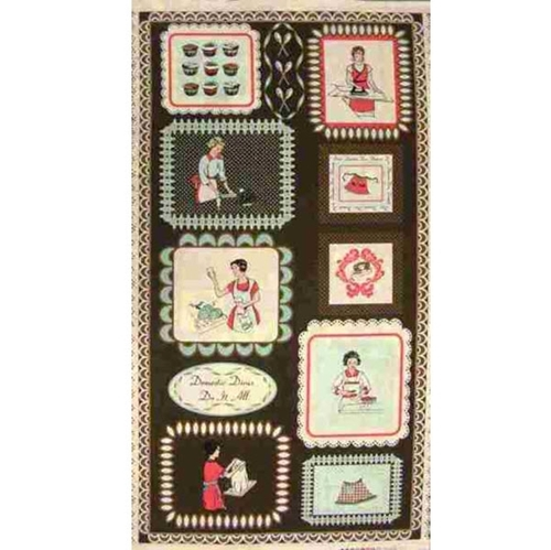 Domestic Divas Do It All 24x44 Large Cotton Fabric Panel