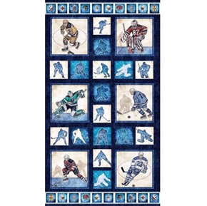 Face Off Hockey Player Picture Patch 24x44 Cotton Fabric Panel