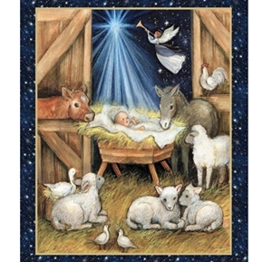 Nativity Barn Manger and Animals Christmas Large Cotton Fabric Panel