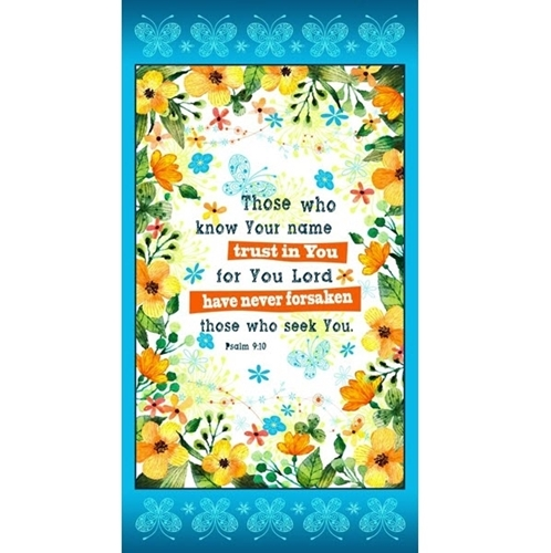PSALM PRAYER Fabric Cotton Craft Quilting Large Panel CHURCH BIBLE TRUST IN YOU