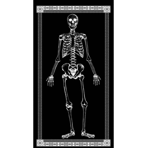 Mr Bones Glow in the Dark Skeleton Halloween 24x44 Large Fabric Panel