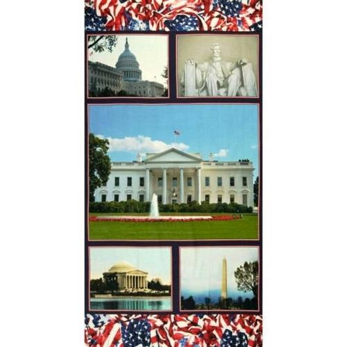 American Spirit Welcome to Washington DC 24x44 Cotton Fabric Panel