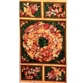 Fall Colors Holiday Wreath and Leaves 24x44 Large Fabric Panel