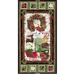 Country Christmas Decorated Porch 24x44 Large Cotton Fabric Panel