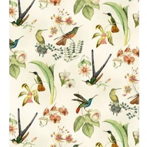 Hummingbirds in Style Hummingbird Floral Gold Metallic Cotton Fabric