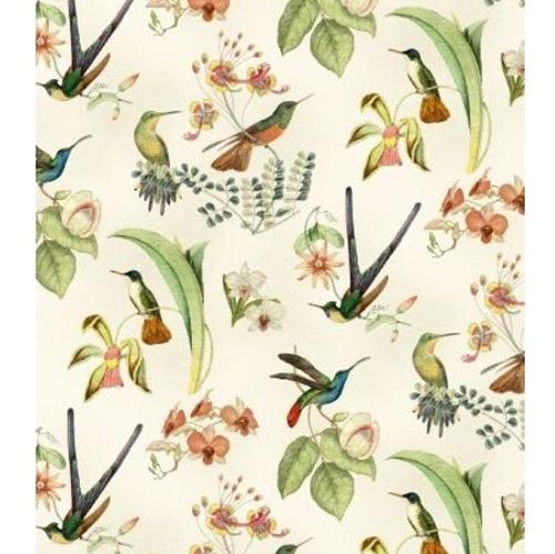 Hummingbirds in Style Hummingbird Floral Gold Metallic Cotton Fabric