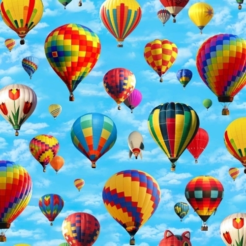 In Motion Colorful Hot Air Balloons in the Sky Cotton Fabric