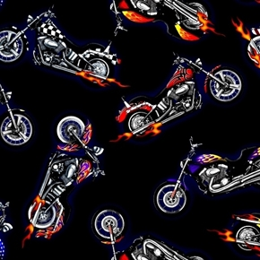 In Motion Custom Motorcycles Choppers Hogs With Flames Cotton Fabric