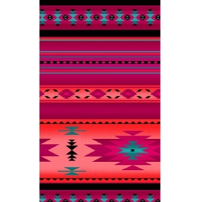 Tucson Southwest Aztec Native American Hot Pink Stripe Cotton Fabric