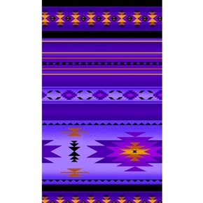 Tucson Southwest Aztec Native American Purple Stripe Cotton Fabric