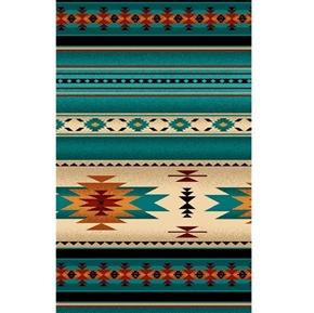 Tucson Southwest Aztec Native American Turquoise Stripe Cotton Fabric