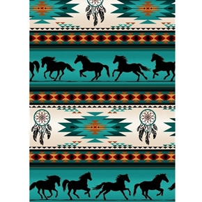 Tucson Southwest Horse Dreamcatcher Turquoise Stripe Cotton Fabric