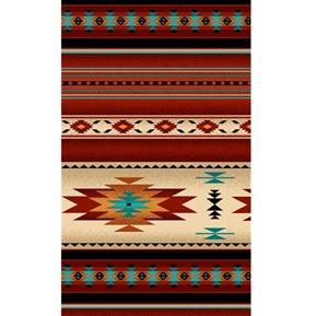 Tucson Southwest Native American Terracotta Stripe Cotton Fabric