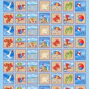 Wade & Sea Beach Blocks Crabs Seagulls Sand 24x44 Cotton Fabric Panel