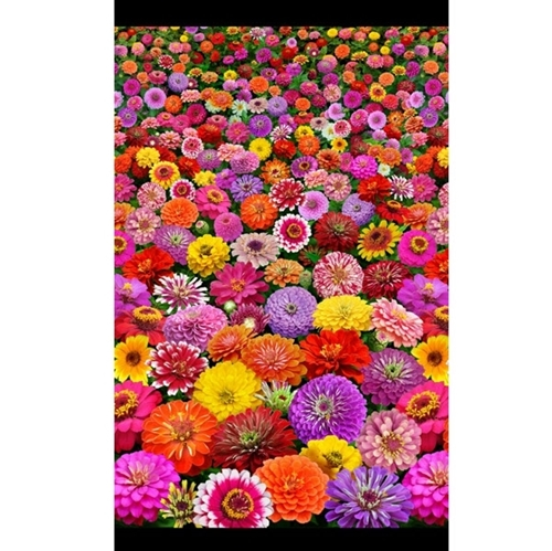 Zinnias Zinnia Flower Garden Colorful 24x44 Cotton Fabric Panel