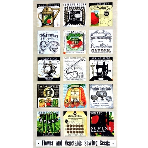 Sewing Seeds II Seed Pack Small Block 24x44 Large Cotton Fabric Panel