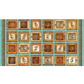 Southwest Soul Small Picture Patch Aqua 24x44 Cotton Fabric Panel