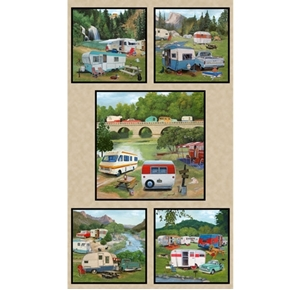 Vintage Trailers Camper Camping Campground 24x44 Cotton Fabric Panel