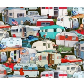 Vintage Trailers Campers Packed Camping Cotton Fabric