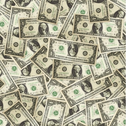Money Dollar Bills George Washington Single One Dollar Cotton Fabric