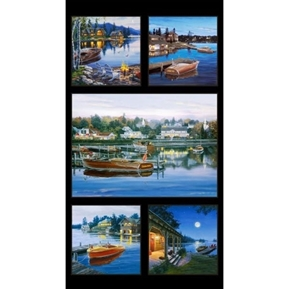 Classic Boats Boating Wood Motor Boat 24x44 Cotton Fabric Panel