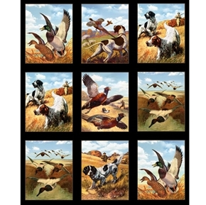 Sports Afield Hunting Dogs Pheasants Black 24x44 Cotton Fabric Panel