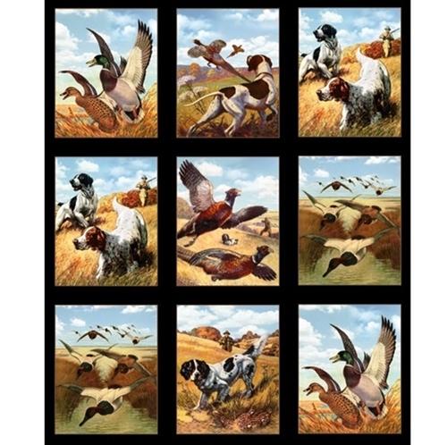 Sports Afield Hunting Dogs Pheasants Black 24x44 Cotton Fabric Panel